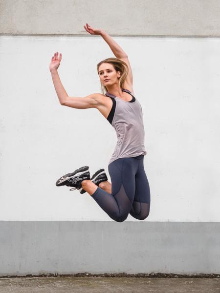 Ruby Melbourne female fitness model jumping 1