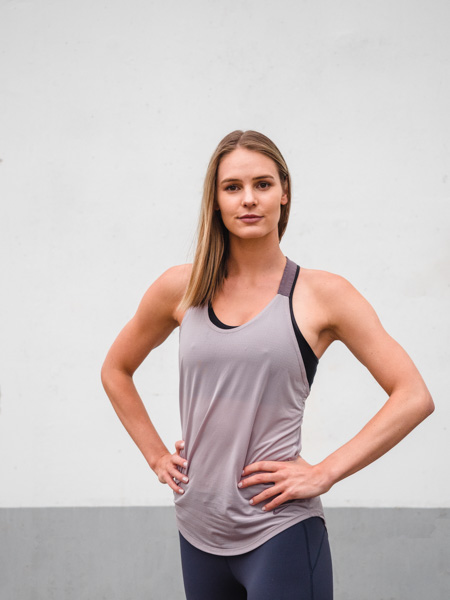 Ruby Melbourne female fitness model wearing fitness apparell 1