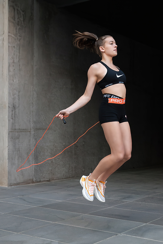 Georgia melbournes young teen fitness model skipping in nike shoot
