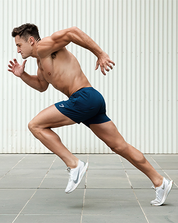 Mitchell ex Melbourne AFL sprinting topless