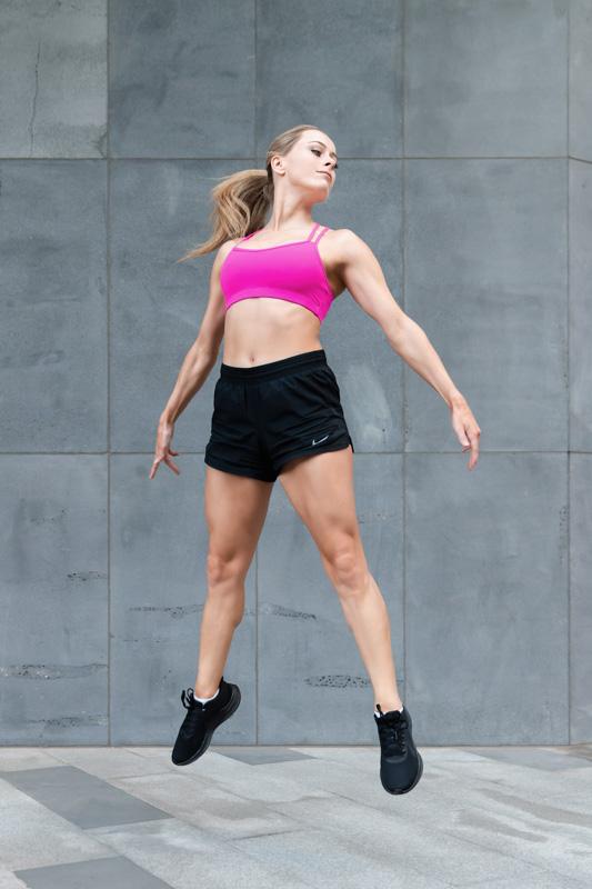 Alyson Melbourne dancer jumping explosively vertically