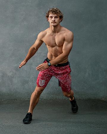Jake fitness model and ninja warrior star NSW side stepping 1