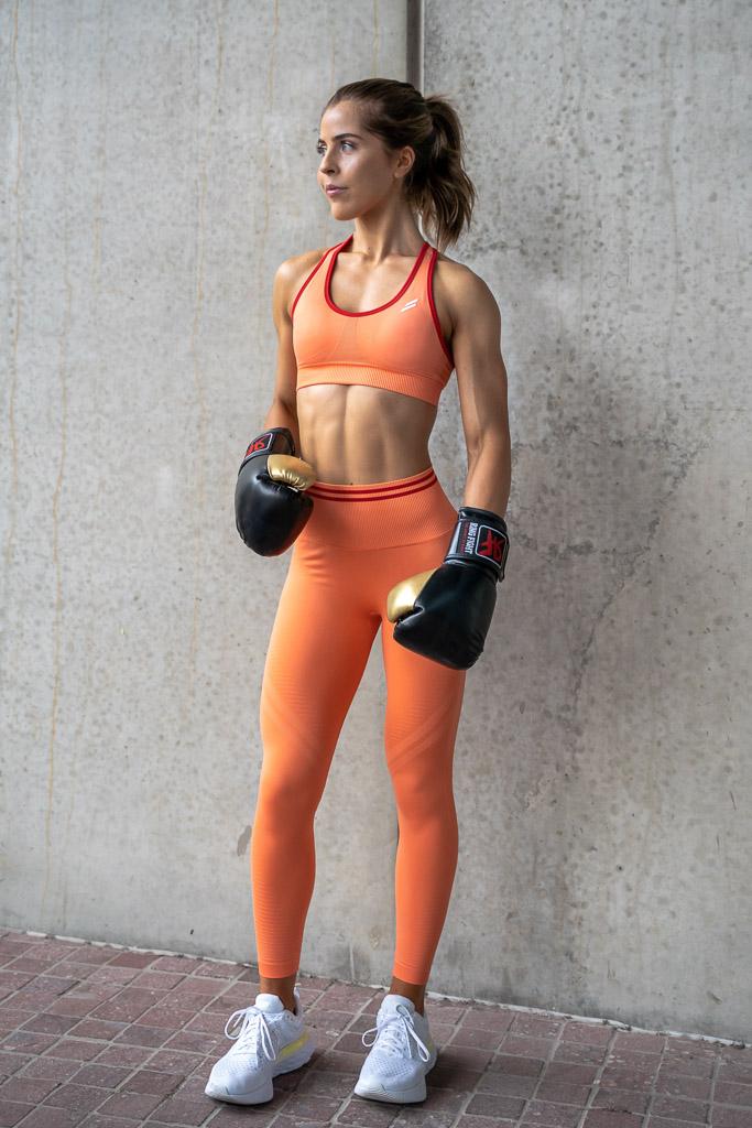 Natasha Australia Elite blonde fitness model at her nike campaign