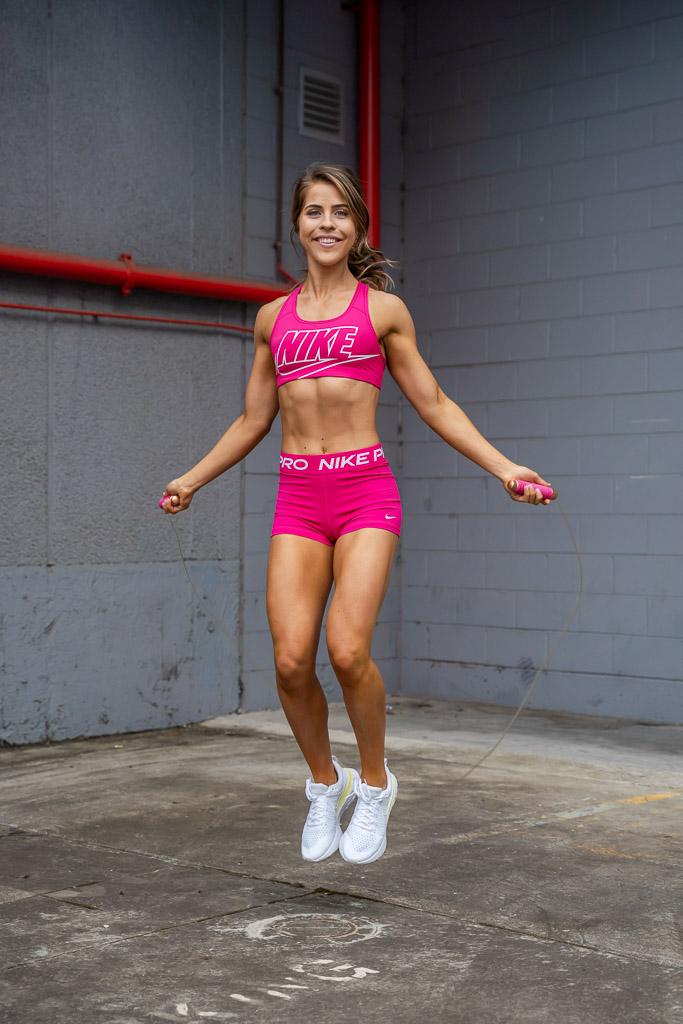 Natasha Australia Elite blonde fitness model side stepping