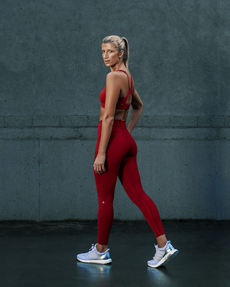 Samantha Sydney personal trainer fitness model wearing red fitness nike clothing
