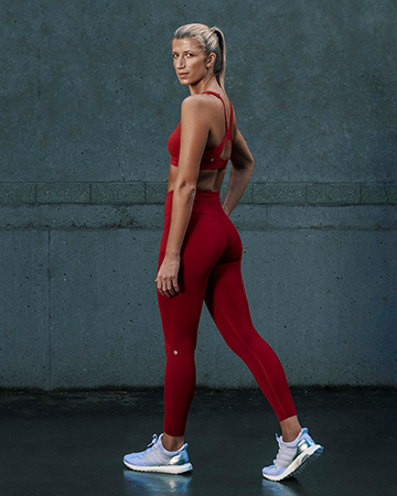 Samantha Sydney personal trainer fitness model wearing red nike gear